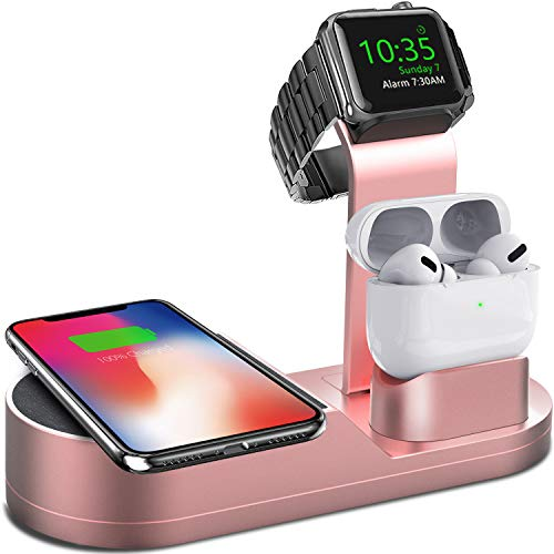 Deszon Wireless Charger iWatch Stand Compatible with iWatch Series SE 6 5 4 3 2 1, AirPods Pro Airpods and Phone Series 12 SE 11 11 pro 11 Pro Max Xs X Max XR X 8 8P(No Adapter)