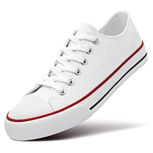 ZGR Women's Canvas Low Top Sneaker Lace-up Classic Casual Shoes(White US8)