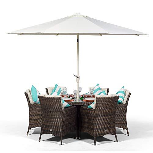 Savannah Rattan Gartenmöbel Set für 6 Personen Braun | Polyrattan Garten Möbel Sitzgruppe mit rundem Tisch, Getränkekühler und Sonnenschirm | Lounge Möbel Terrasse, Balkon Möbel Set | Mit Abdeckung