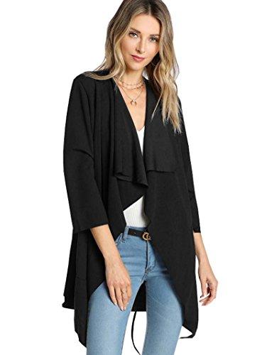 ROMWE Damen Leicht Mantel mit Wasserfallkragen Kordel Tasche Locker Knielang Outwear Jacke Schwarz XS