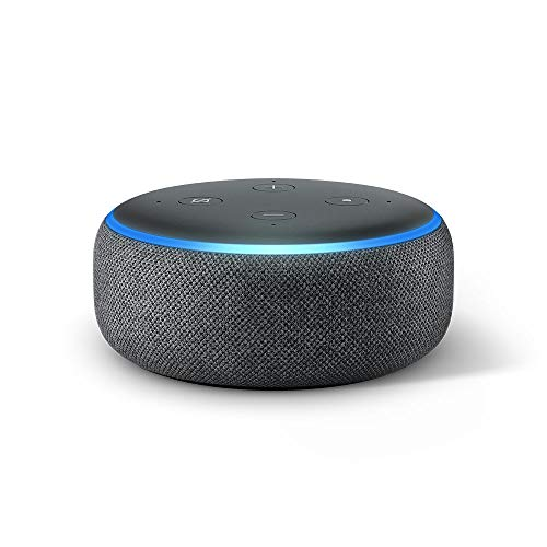 Echo Dot (3. Gen.) Intelligenter Lautsprecher mit Alexa, Anthrazit Stoff, internationale Version, EU-Netzteil