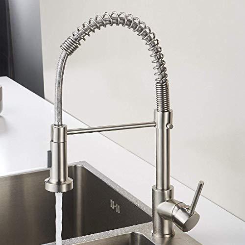 Aimadi Miscelatore da cucina rubinetto Rubinetto cucina rubinetto miscelatore monocomando per lavello cucina doccetta estraibile con molla nickel spazzolato