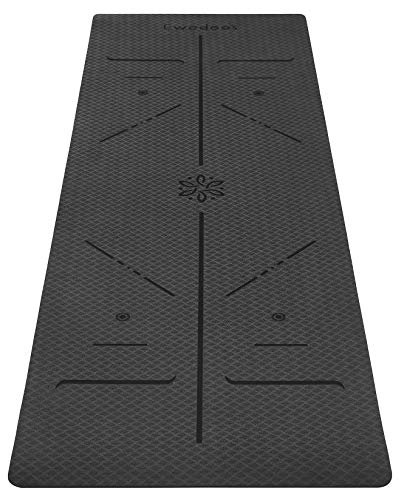 Ewedoos Eco Friendly Yoga Mat For Kids And Beginners with Alignment Lines, TPE Yoga Mat Non Slip Textured Surfaces ¼-Inch...