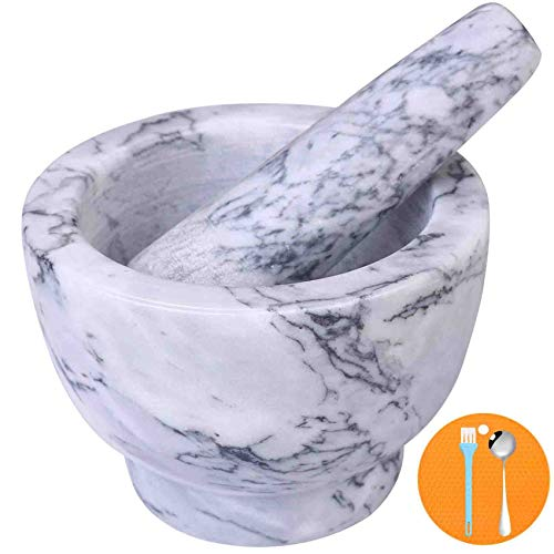 Mortar and Pestle Set, Guacamole Bowl Polished Natural Marble Stone, Grinder and Crusher, with Silicone Mat & Spoon-300ML (Light White Gray)