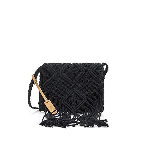 MTNG IRIA, Bolso bandolera para Mujer, Negro (Crochet Negro), 3x18x24 cm (W x H x L)