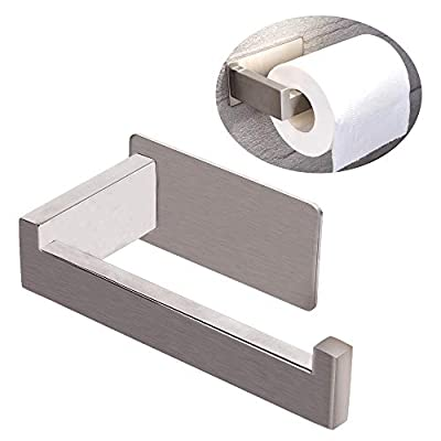 KMEIVOL Adhesive Toilet Paper Holder, Self Adhesive Toilet Paper Towel Holder, Stainless Steel Bathroom Toilet Paper Holder Adhesive, Stick on Toilet Paper Roll Holder for Bathroom & Kitchen