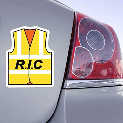Zone-Stickers Sticker Gilet Jaune R.I.C. - 15cm x 11cm