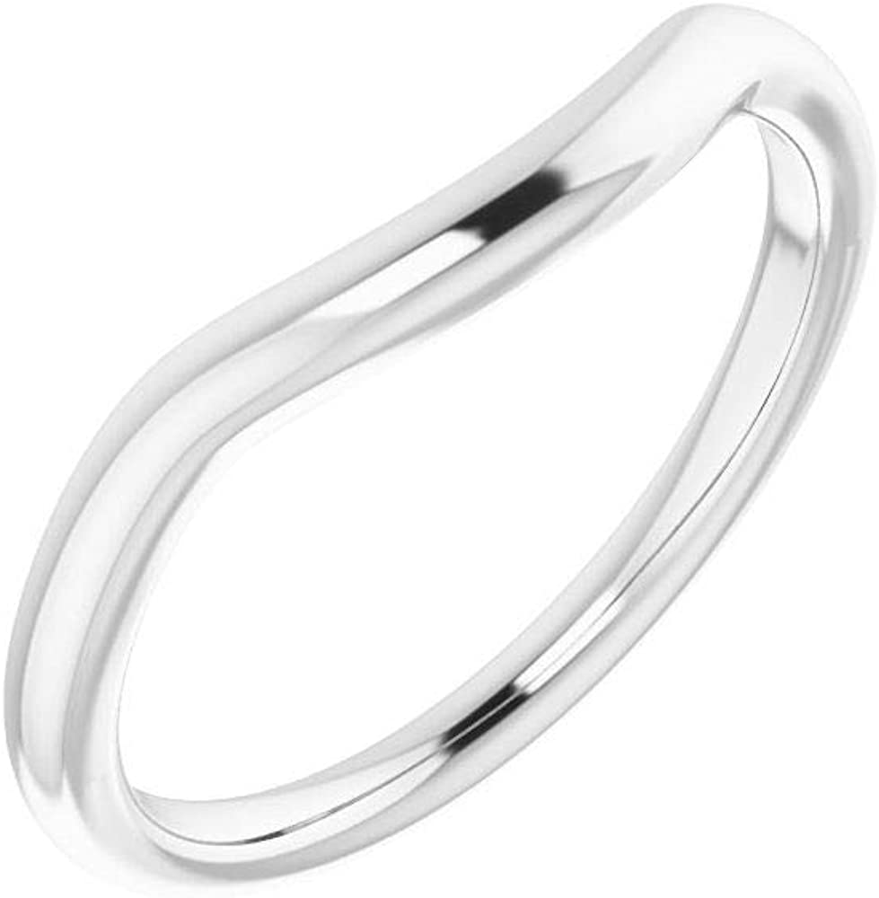 Solid 925 Sterling Silver Curved Notched Austin Mall Wedding Band A surprise price is realized for Ro 6mm