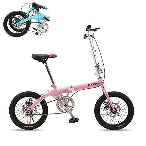TopBlïng Estudiantes Adolescentes Bicicleta Plegable 6 Velocidades,Pulgadas Rueda,Simple Mini Mujeres Bicicleta Plegable,para Escuela Conmutar Street Ciudad Ciclismo,-Rosa