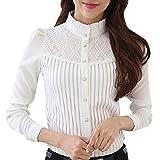 Camisa de Mujer,riou Camiseta de pie con Encaje Camisa de Gasa de Manga Larga y Delgada Casual Oficina Elegantes T Shirt Blusa Sexy Botón Señoras Tops riou