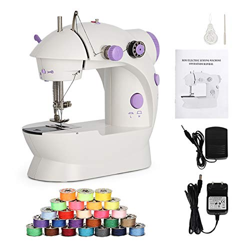 Mini Sewing Machine Electric Sewing Machine Portable Sewing Kit with Thread Dual Speed Double Thread