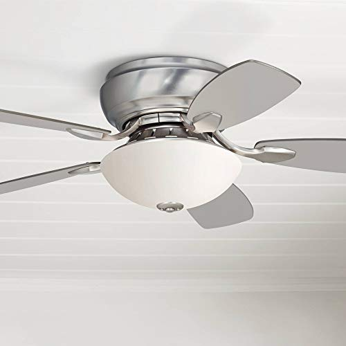 44' Casa Habitat Modern Hugger Ceiling Fan with Light LED Brushed Nickel Reversible Silver White Blades Frosted Glass for Living Room Kitchen Bedroom Family Dining - Casa Vieja