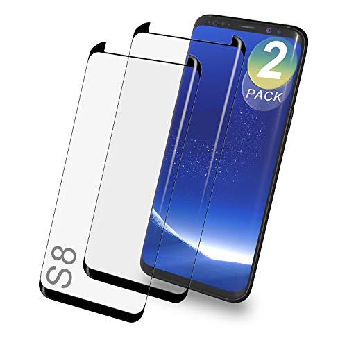 De.Zev 2 Stück Galaxy S8 Panzerglas Schutzfolie, 3D Curved Panzerglasfolie für Samsung Galaxy S8,[9H Härte][Anti Kratzen], Panzerglas Displayschutzfolie für Samsang Galaxy S8 3D