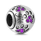 Pandora 925 Color plata piedra natal encanto Fit Original mm pulsera pulsera fabricación de joyería de moda DIY para mujer Feb