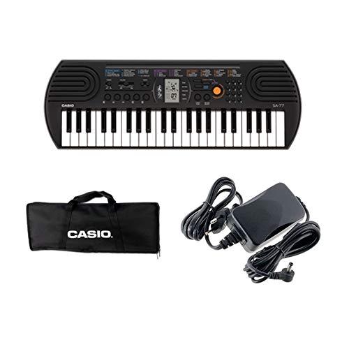 Casio SA-77 - Mini Tastiera polifonica 8 Voci e 44 tasti, Nera/Grigio + Bag Trasporto Originale Casio, Nero + Alimentatore Casio AD-E95100LG, Nero