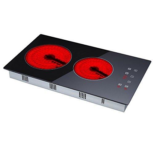 RollingBronze Vitrocerámica Cocina eléctrica Cocina Control táctil con 2 quemadores