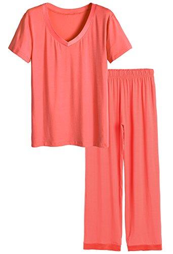 Latuza Women's V-neck Sleepwear Short Sleeves Top with Pants Pajama Set 3X Coral
