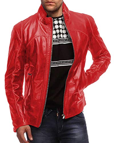 Laverapelle Men's Genuine Lambskin Leather Jacket (Red, Large, Polyester Lining) - 1501441
