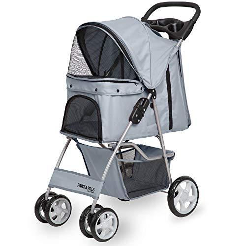 Paws & Pals 4 Wheeler Elite Jogger Pet Stroller Cat/Dog Easy to Walk Folding Travel Carrier, Gray
