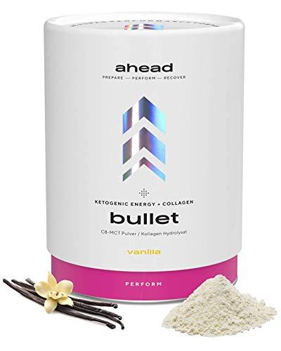 ahead BULLET | C8 MCT Pulver mit Collagen Pulver - Vanille - Perfekt für Bulletproof Coffee, als Keto Shake oder als Keto Creamer für Kaffee - 300g