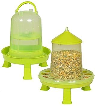 Mangeoire poules 2 kg et abreuvoir poules 3L, distributeur automatique pour aliment volailles, poulailler et pondoir, accessoire pour nourriture graine de volaille et vers de farine pour poule