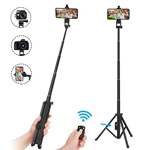 Selfie Stick Tripod,54' Extendable Tripod Stand with Cell Phone Mount Holder & Rechargeable Wireless Remote,Lightweight, Compatible with iPhone & Android Phone,Camera,Gopro