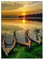 大人のためのユニークなギフトジグソーパズル300ピース-日没の川沿いのボート-DIY木製パズルキッズおもちゃ23x15in