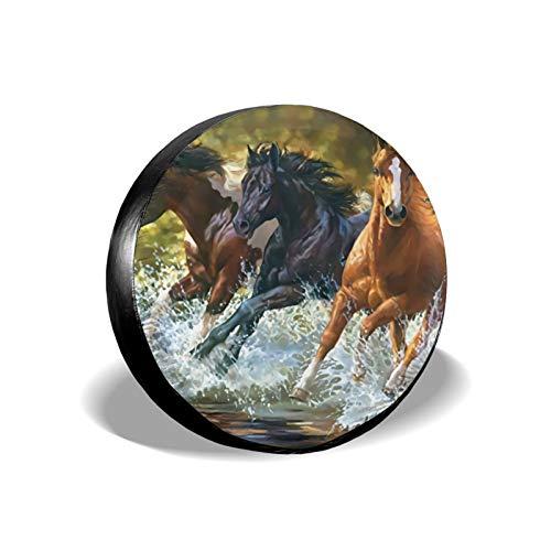Xhayo Horse Runningwater - Cubierta universal para neumáticos de repuesto para neumáticos, impermeable, a prueba de polvo, para remolques, RV, SUV y muchos vehículos (negro, diámetro 14-17 pulgadas)