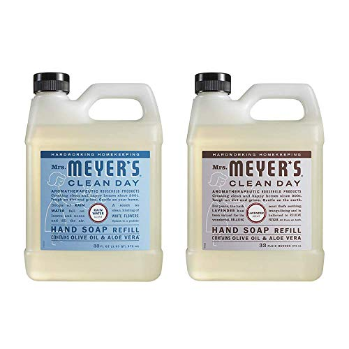 Mrs. Meyers Clean Day Liquid Hand Soap Refill, 1 Pack Lavender, 1 Pack Rain water, 33 OZ each