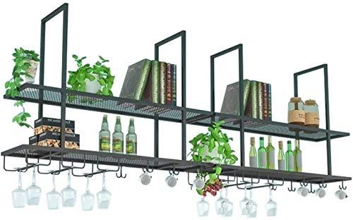 Pratico scaffale per bottiglie di vino, Wallmounted Wine Rack, Metallo Glass Bar Wine Vintage Hanging Rack, Sotto Coppa scaffale Governo, Restaurant Cafe Organizzazione cucina e deposito Ripiano nero