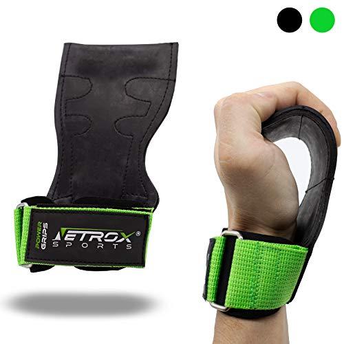 NetroxSports - Power Grips | Professionelle Zughilfen mit extra Grip | Für Bodybuilding, Gewichteheben, Crossfit & Fitness | Geeignet für schwere Gewichte echtes Leder | Herren & Damen (Grün, L)