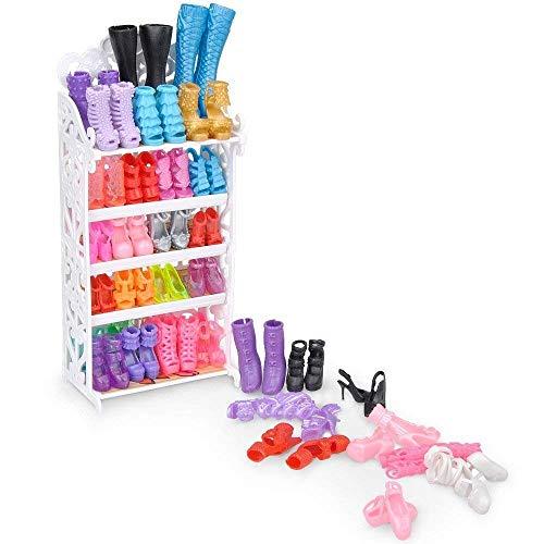 E-TING Puppe Schuhe Rack Schuhe Regal Zubehör mit 20 Paar High Heel Schuhe Stiefel für Puppen Playset 1 Puppe Schuhe Regal Zubehör , 20 Paar Schuhe Zufälliger Stil