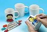 Baker Ross Ec1121- Diseña tus Propias Tazas grandes de Porcelana Blanca (Pack de 4) para que los Niños Decoren, Manualidades