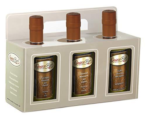 Olivenöl Geschenkbox 3x 0,35L in premium Qualität Steinpilz / Rosmarin / Trüffel extra vergine kaltgepresst