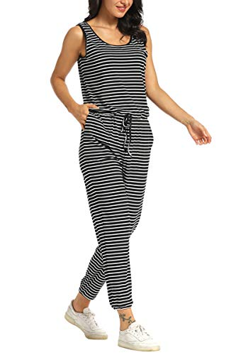 Front 3/4 View of AMPOSH Women's Sleeveless Jumpsuit Casual Tank Romper Tapered Leg with Pockets