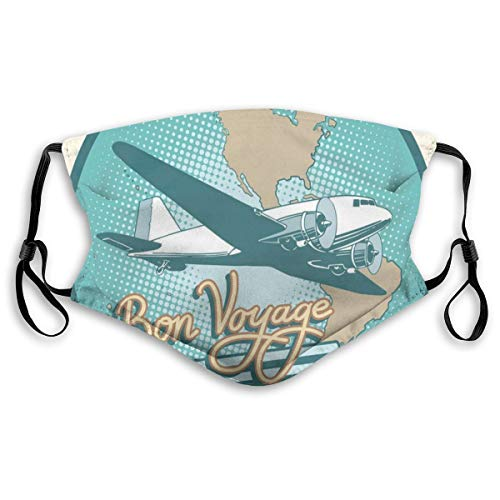Mundschutz Mund Anti-Staub-Abdeckung,Abstract Vintage Artsy of Bon Voyage Text and Retro Plane On Globe,Mouth Cver Wiederverwendbare Fack-Abdeckung,m