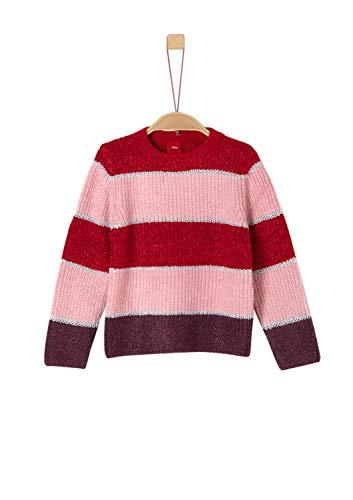 s.Oliver RED LABEL Mädchen Streifenpullover mit Glitzer light red knit 116/122.REG
