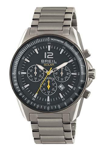 Breil herenhorloge titanium zwarte wijzerplaat en titanium armband, zonne-uurwerk