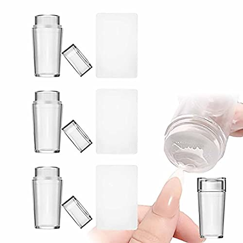 Clear Silicone Nail Stamper French Tip, Nail Art Stamper, Clear Silicone Stamping Jelly With Scraper, Silicone Stamper, Nail Jelly Stamper, French Nail Stamper, Silicon Nail Stamper (3PCS)