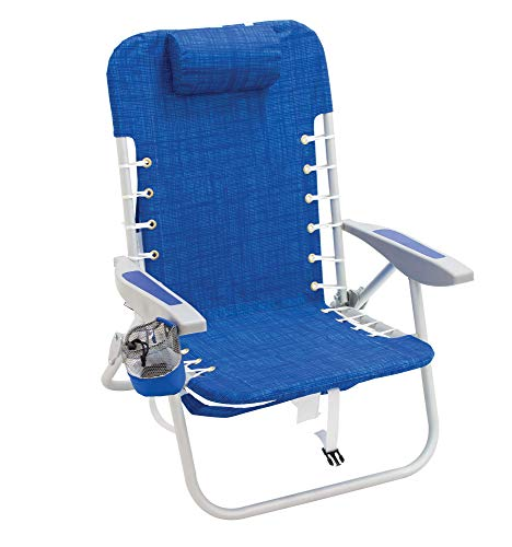 Rio Brands Beach Lace-Up Suspension Folding Beach Chair, Cool Blue, 44.7' x 25.5' x 26.5'