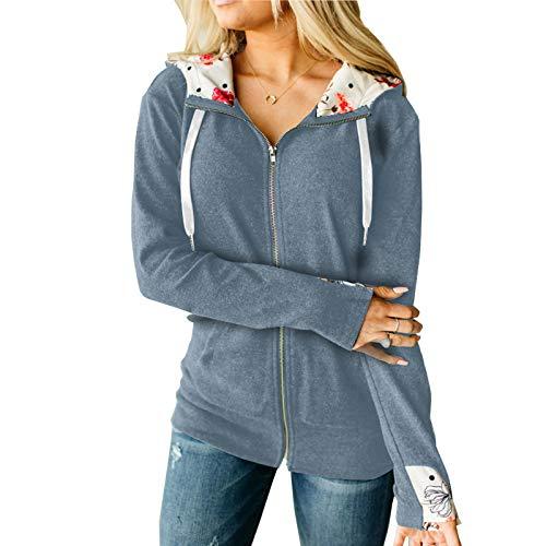 Katenyl Abrigo corto con costuras de color liso con capucha y cremallera para mujer Entrenamiento diario de ocio Running Chaqueta cómoda regular S