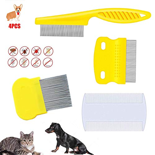 weback flea Comb for Cats Dogs Pets - Best Grooming Tools Set -4 Pcs Dogs Lice Combs,Pets Cat Lice Combs