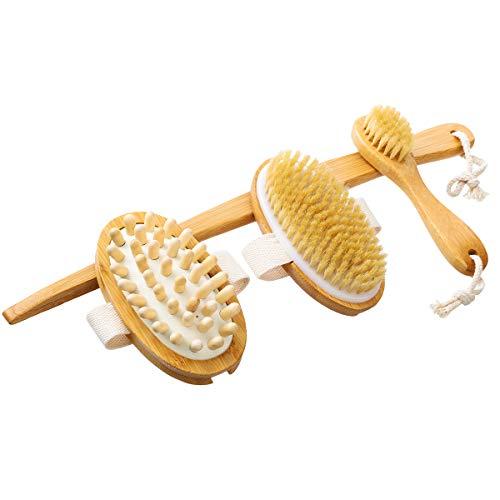 Ensemble de brosse de bain Tooca, brosse pour le corps et brosse de massage avec manche en bois amovible, trois ensembles de brosse de massage pour dos en soies naturelles, brosse pour peau sèche