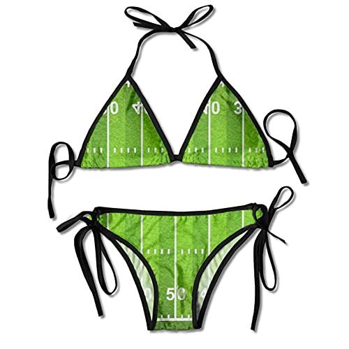 DRXX Conjuntos de Bikini para Mujer Traje de baño de Estadio de fútbol Verde Americano Halter Push Up Traje de baño Traje de baño Triángulo Trajes de baño