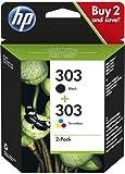 HP - Cartucho de tinta original 303, 3YM92AE, color negro y 3 colores, 4 ml, 200/165 páginas (negro/a color), 2 unidades (recibirás 1 paquete con 2 unidades)