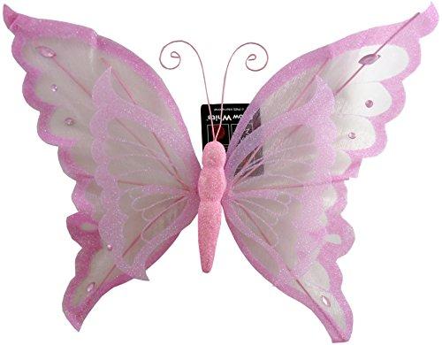 Clip Papillon Rose 28cm décoration avec Paillettes Noël/Mariage/Accueil (PM230)
