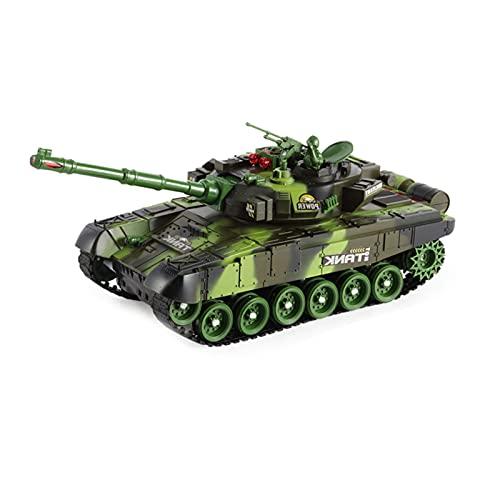 DEORBOB 2.4G Simulación de tanque controlado por radio Simulación militar Campo de batalla Humo Luz de sonido Tanques de control remoto Modelo fundido a presión Juguete RC Juguetes para caminar multid