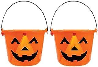 Light Up Jack O Lantern 2 PACK Halloween Candy Bucket Pail