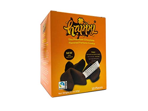 Happy Chocolate Flavored Fortune Cookie - 10 Cookies per Box - Net Weight 2.1 oz
