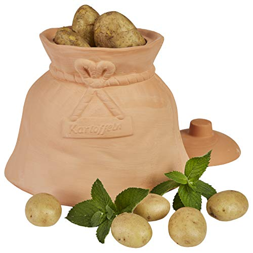 MamboCat Kartoffeltopf Terracotta Kartoffel Tontopf mit Deckel I Lustige Kartoffel-Aufbewahrungsbox Gemüsetopf Vorratstopf Kartoffeln im Geschenk-Karton I Tongefäß Küche 29,5 x 20 x 27,5 cm